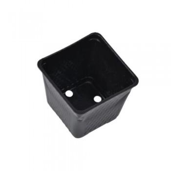 Square Plastic Pot Black 4 in